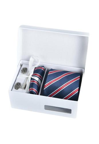 Kings Collection blue Blue Tie, Pocket Square, Cufflinks, Tie Clip 4 Pieces Gift Set (KCBT2066) E8EA5ACB20D2B1GS_1