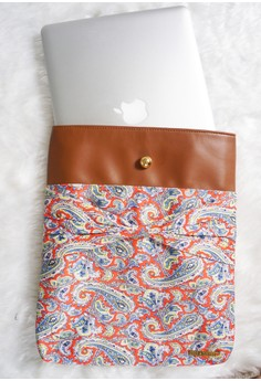 Holly Laptop Sleeve - Tomato Orange Paisley