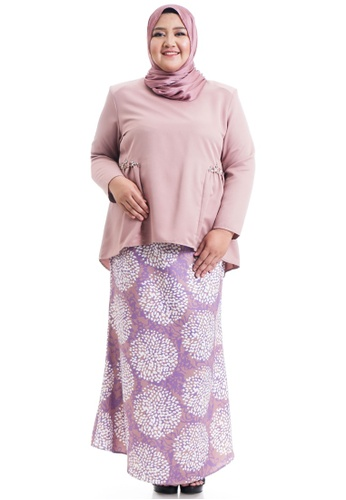 Ashura pink and purple and multi Shakela Kurung With Gathers Plus Size 98E97AAB8A69EEGS_1