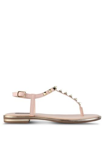 ZALORA beige Studded T Strap Sandals 25D8DSHFB1D01FGS_1