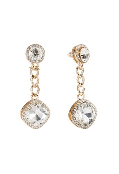 【ZALORA】 Diamante Encrusted Curve Stud 耳環