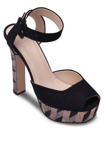 zalora鞋露趾印花厚底粗跟鞋, 女鞋, 厚底鞋