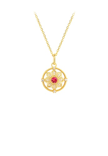 Glamorousky white 925 Sterling Silver Plated Gold Fashion Personality Snowflake Geometric Round Pendant with Cubic Zirconia and Necklace B3063AC251F435GS_1