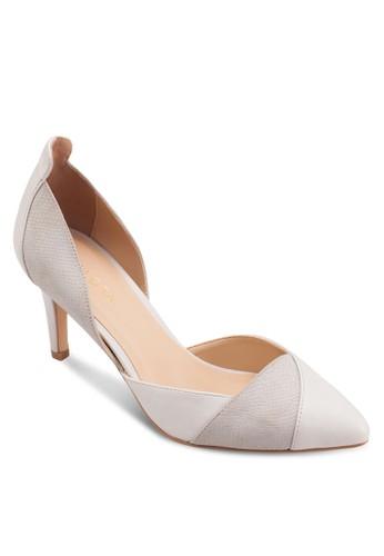 側鏤空尖頭拼接高跟鞋, 女esprit 童裝鞋, 鞋