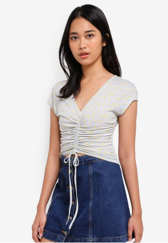 Something Borrowed blue Knit Crop Top with Drawstring Detail B7D17AA020A524GS_1