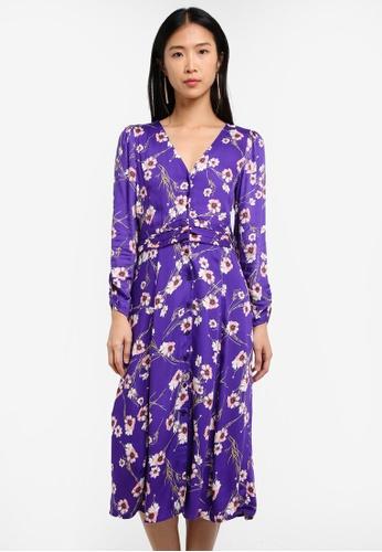 Mango purple Floral Pattern Dress MA193AA0RUZHMY_1