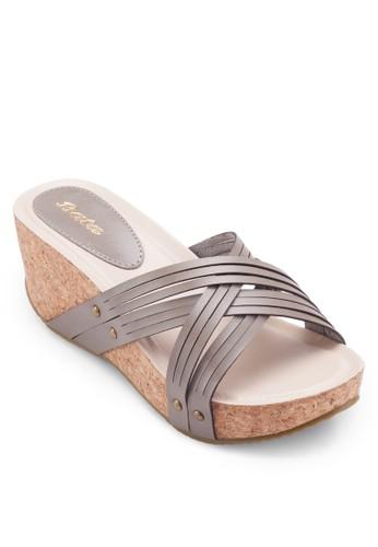 Vesprit台灣outletarana 軟木楔型跟涼鞋, 女鞋, 楔形涼鞋
