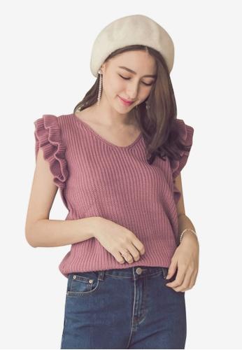 Yoco pink Ruffle Sleeve Knit Tank 6F1FFAA0B1EC54GS_1