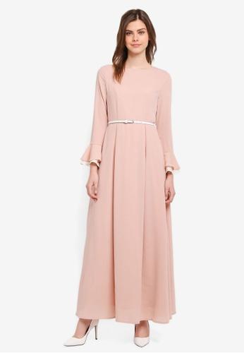 Zalia pink Layered Sleeve Fit & Flare Dress F0FAEAA6A8B8EDGS_1