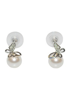 Paris Bijoux PE19510A White Acrylic Pearl Rhodium Plated Earring - White Acrylic Pearl