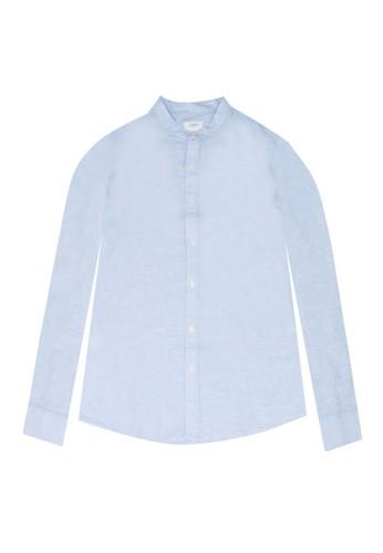 MANGO KIDS green Stand Collar Linen Shirt 65E7EKA4F9581CGS_1