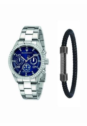 188e5fe195b Maserati silver Competizione Silver Metal Strap Quartz Chronograph Watch  R8853100011 + Leather Stainless Steel Bracelet JM05