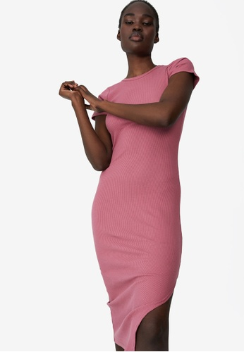 Cotton On pink Essential Split Short Sleeve Midi Dress AB5AFAA7492CBCGS_1