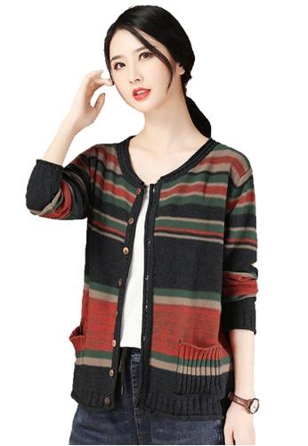 A-IN GIRLS multi Retro Striped Knitted Jacket 3F62DAA0C0891FGS_1
