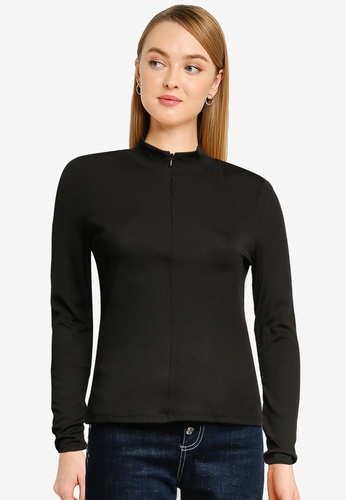 Vero Moda black Lacey Rib Long Sleeve Zip Top 9A48CAA18C9329GS_1