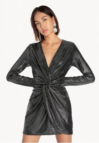 Pomelo black Full Sleeves Knotted Metallic Dress - Black 4576DAA7DB58A6GS_1