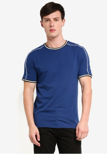 River Island 海軍藍色 短袖刺繡滾邊T恤 B852BAA36ED8C8GS_1