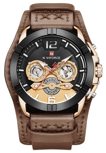 Naviforce brown Naviforce - Jam Tangan Pria - Rosegold - Brown Leather Strap - NF9162-C 2D42DACA6D1B6CGS_1