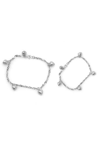 Elfi silver Elfi 925 Genuine Solid Silver Wave Hearts Bracelet Anklet Set SBA-03 EL186AC40NGTMY_1