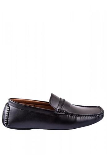 Otto black Stitched Design Slip-On Loafers 27F5ESH3DC3E0EGS_1