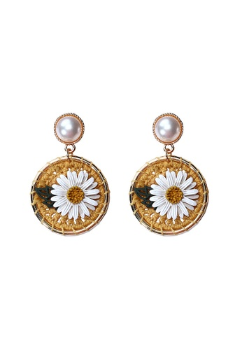 Sunnydaysweety gold Flower Round Woven Earrings CA060310 829A0AC8D7C341GS_1
