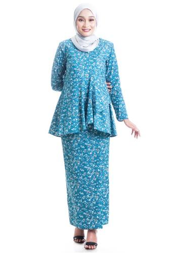 Ashura green and multi Zajiha Kurung  Cotton With Layered Peplum C7A79AA2030D53GS_1