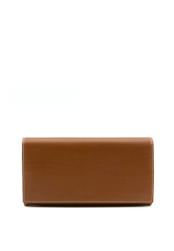 Enjoybag brown Kobe Cow Leather Long Wallet 5AF40AC64BF078GS_1