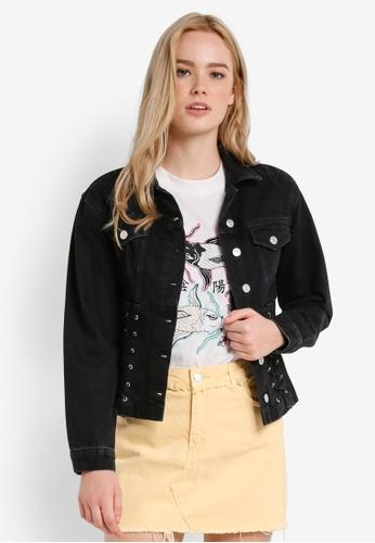 TOPSHOP black MOTO Corset Denim Jacket TO412AA56JWPMY_1