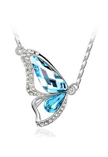 Vivere Rosse blue Butterfly Goddess Austrian Crystal Necklace - Aquamarine VI014AC21ZUSMY_1