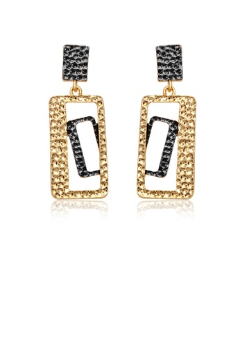 Glamorousky silver Individual Black and Yellow Rectangular Earrings ACD58ACC7E0476GS_1