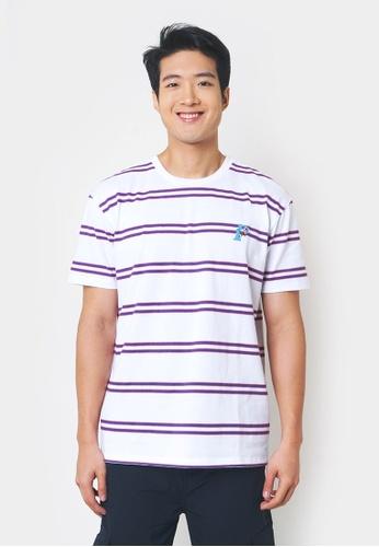 Penshoppe white Striped Tee with P Embroidery 57CEBAA39E5ED9GS_1