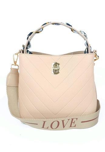BELLE LIZ beige PU Scarf Trendy Bag Beige Apricot 28C3EACFA68453GS_1