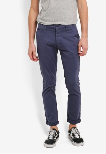 Topman 藍色 Navy Slim Stretch Chinos TO413AA0RZZQMY_1