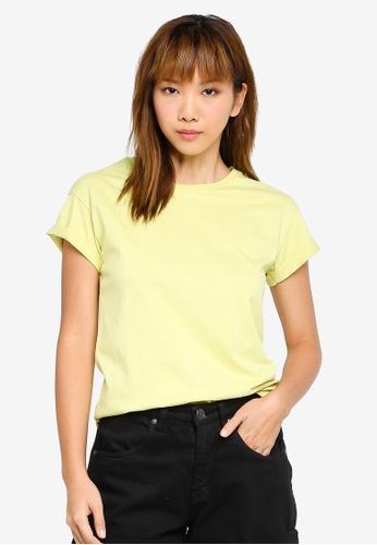UniqTee green Basic Folded Sleeve Top 18948AADDD5D2CGS_1