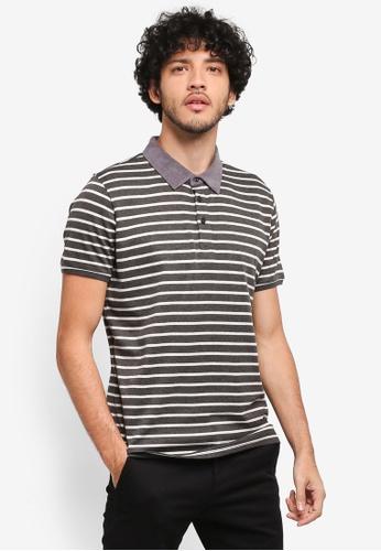 JAXON grey Mixed Fabric Stripe Polo Shirt DD201AAB6710ECGS_1