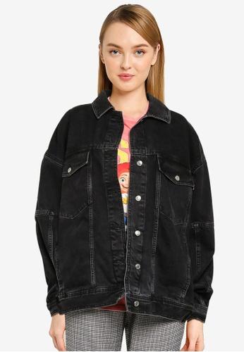 TOPSHOP black Washed Black Oversized Dad Jacket 627ECAAEE273C7GS_1