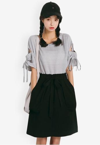 Sunnydaysweety grey Checkered T-shirts 1C872AA05651EBGS_1