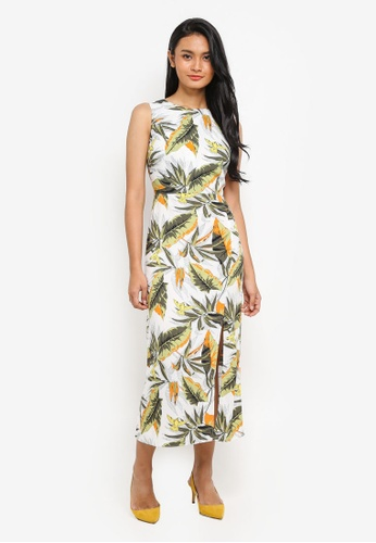 WAREHOUSE white Palm Print Midi Dress FC6E4AA7B73486GS_1