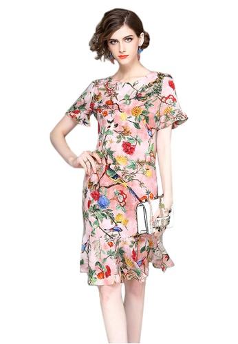 Sunnydaysweety pink Floral Crew-Neck Short Sleeves One Piece Mini Dress CA06142902MT 985BEAAE5DB9BFGS_1