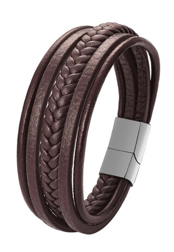 CUFF IT brown Brown Braided Leather Multi Layer Magnetic Clasp Stainless Steel Bracelet A4917AC466D26EGS_1