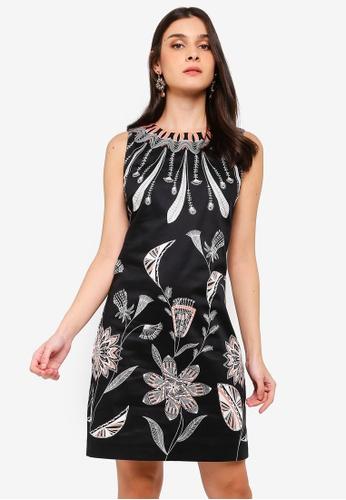 Desigual black Kira Feathers And Flowers Dress 4B904AA6D3CFDBGS_1