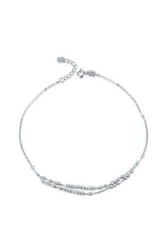 MaBelle silver 14K 585 White Gold Diamond Cut Beads Double Chain Anklet 73CF2ACF4760D4GS_1