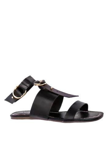 Twenty Eight Shoes 黑色 腳踝帶平底涼鞋 VS3778 TW446SH47DMQHK_1