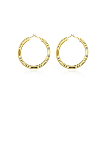 Glamorousky silver Fashion Plated Gold Round Earrings EACAAACA9FE568GS_1