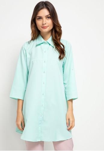 BRILLIANT GIRL green Crepe Plain Shirt AF6F9AA8630E97GS_1