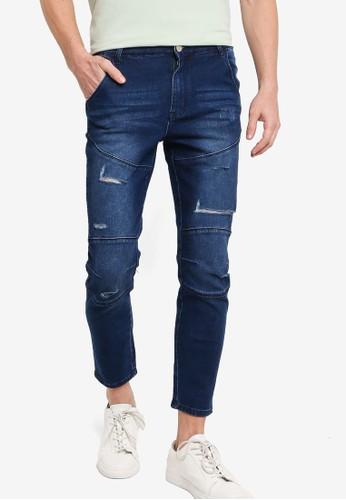 ZALORA BASICS blue Ripped Slim Fit Jeans 39B5BAA90D4F74GS_1