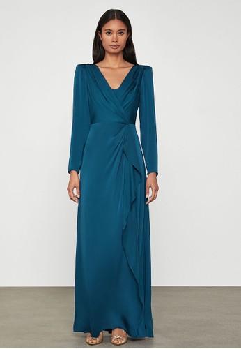 BCBG Max Azria blue Satin Wrap-Effect Dress F084AAA79D5CC6GS_1
