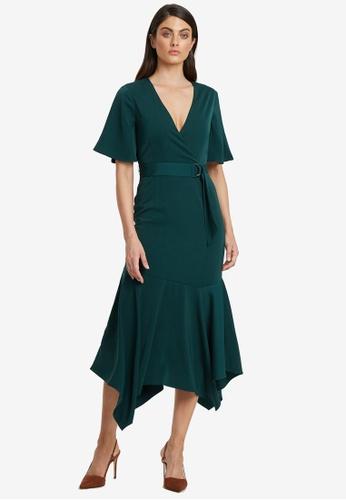 Willa green Gates Belted Midi Dress AD6EBAAB51AED8GS_1