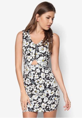 鏤空拉鍊印花修身連身裙, 服飾, 服zalora 包包評價飾
