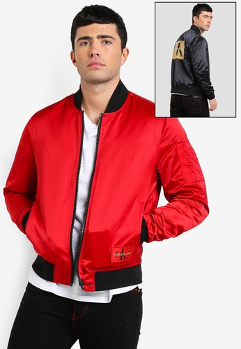 Calvin Klein 紅色 LOGO印花飛行外套 9CD08AA33A99BDGS_1